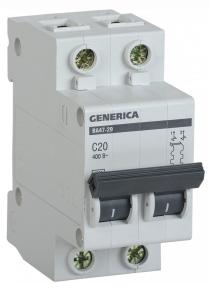 Автоматический выключатель ВА47-29 2Р 20А 4,5кА х-ка С GENERICA MVA25-2-020-C