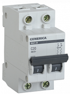 Автоматический выключатель ВА47-29 2Р 20А 4,5кА х-ка С GENERICA MVA25-2-020-C, фото 1