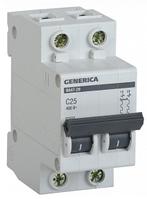 Автоматический выключатель ВА47-29 2Р 25А 4,5кА х-ка С GENERICA MVA25-2-025-C