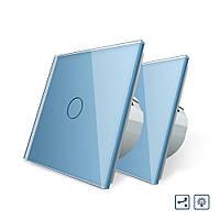 Комплект Сенсорный проходной диммер Livolo голубой стекло (VL-C701H/C701H/S1B-19), фото 1
