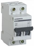 Автоматический выключатель ВА47-29 2Р 32А 4,5кА х-ка С GENERICA MVA25-2-032-C