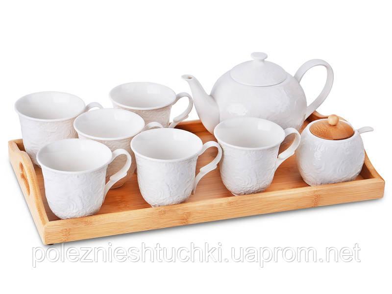 Чайный сервиз на подносе на 6 персон, 9 предметов, фарфоровый, белый HomeFo, Lefard