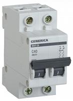 Автоматический выключатель ВА47-29 2Р 40А 4,5кА х-ка С GENERICA MVA25-2-040-C