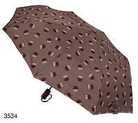 Зонт женский полуавтомат коричневый с совами, фото 1