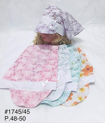 Детская косынка для девочки Цветчки,р.48-50,коттон, фото 2