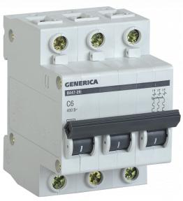 Автоматический выключатель ВА47-29 3Р 6А 4,5кА х-ка С GENERICA MVA25-3-006-C