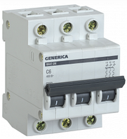 Автоматический выключатель ВА47-29 3Р 6А 4,5кА х-ка С GENERICA MVA25-3-006-C, фото 1