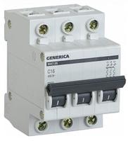 Автоматический выключатель ВА47-29 3Р 16А 4,5кА х-ка С GENERICA MVA25-3-016-C