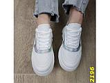 Кроссовки белые на массивной высокой платформе тракторной белые с серебром 38, 39 р. (2196), фото 3