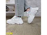 Кроссовки белые на массивной высокой платформе тракторной белые с серебром 38, 39 р. (2196), фото 6