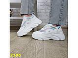Кроссовки белые на массивной высокой платформе тракторной белые с серебром 38, 39 р. (2196), фото 5