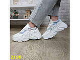 Кроссовки белые на массивной высокой платформе тракторной белые с серебром 38, 39 р. (2196), фото 4