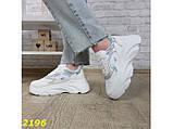 Кроссовки белые на массивной высокой платформе тракторной белые с серебром 38, 39 р. (2196), фото 8