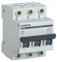 Автоматический выключатель ВА47-29 3Р 20А 4,5кА х-ка С GENERICA MVA25-3-020-C