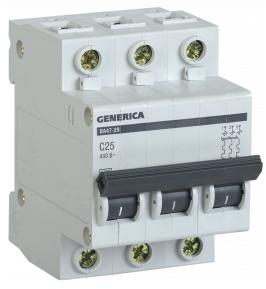 Автоматический выключатель ВА47-29 3Р 25А 4,5кА х-ка С GENERICA MVA25-3-025-C