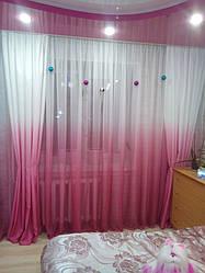 Комплект готовых штор розового цвета