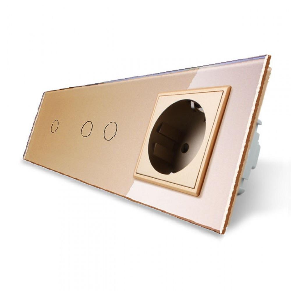 Сенсорний потрійний вимикач з розеткою Livolo, колір золотий, скло (VL-C701/C702/C7C1EU-13)