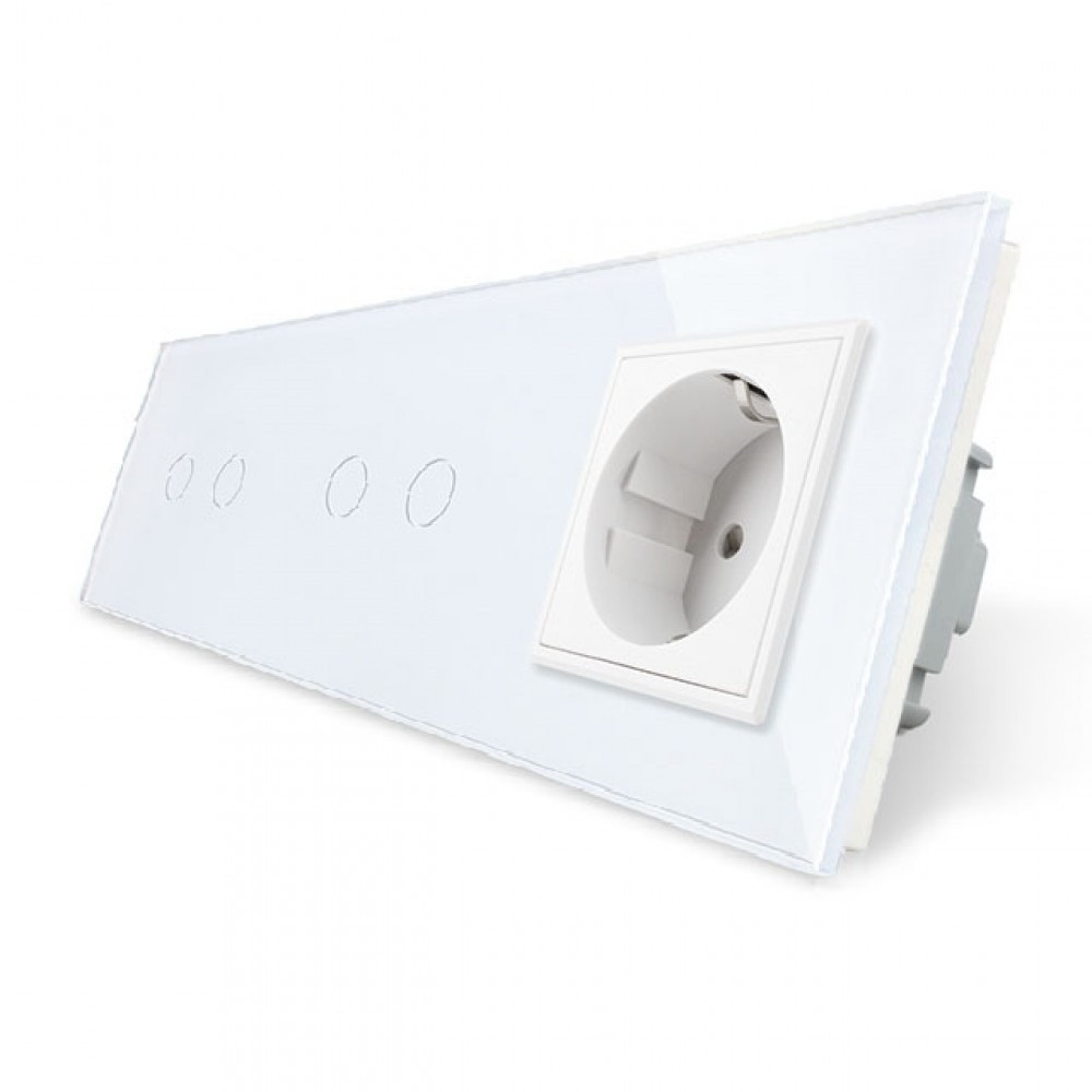Сенсорный выключатель Livolo 4 канала (2-2) с розеткой белый стекло (VL-C702/C702/C7C1EU-11)