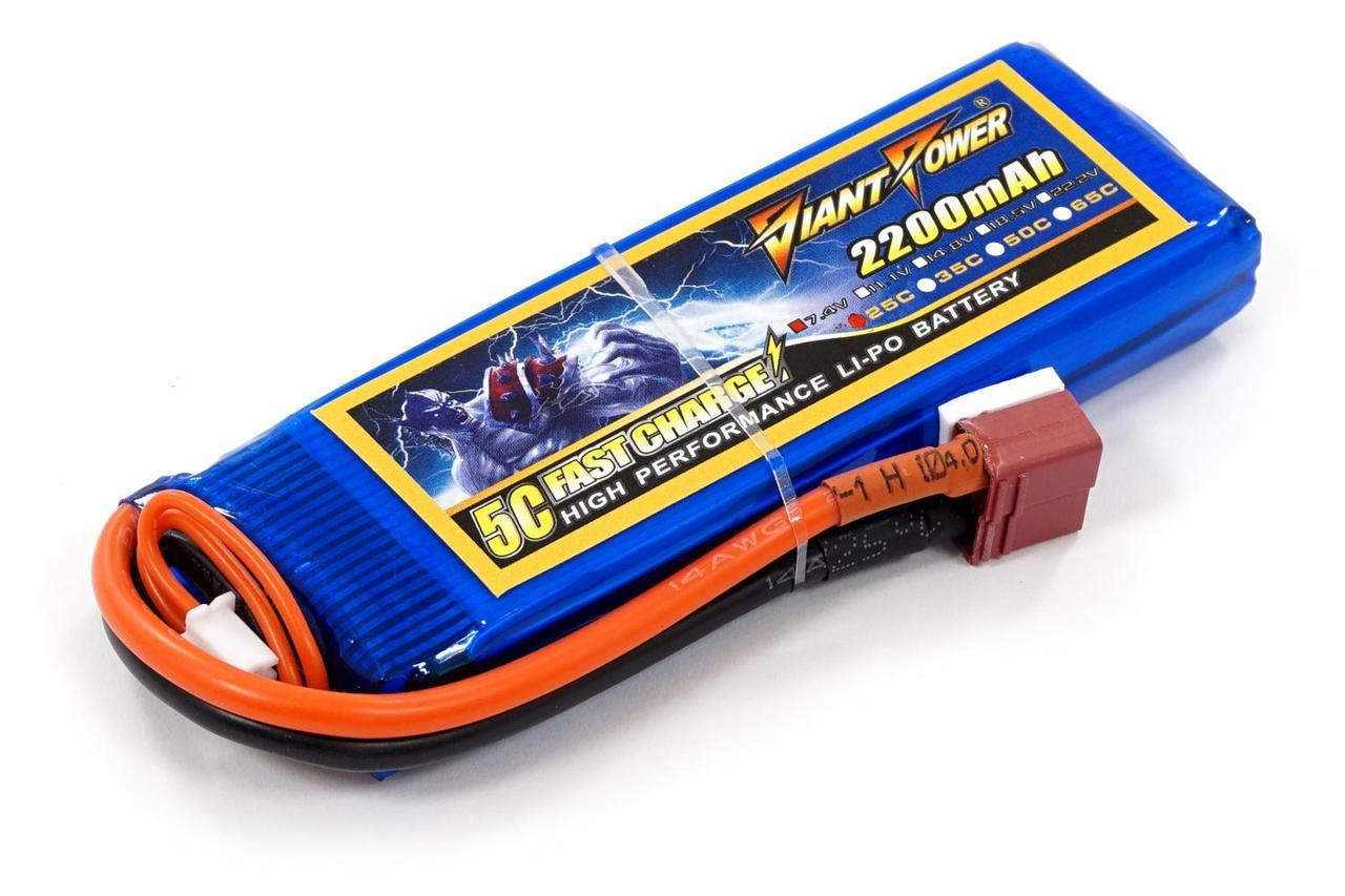 Акумулятор для страйкболу Giant Power Li-Pol 7.4 V 2S 2200mAh 25C 16х33х102мм T-Plug