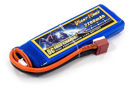 Акумулятор для страйкболу Giant Power Li-Pol 7.4 V 2S 2200mAh 25C 16х33х102мм T-Plug, фото 2