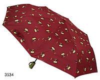 Зонт женский полуавтомат красный с совами, фото 1