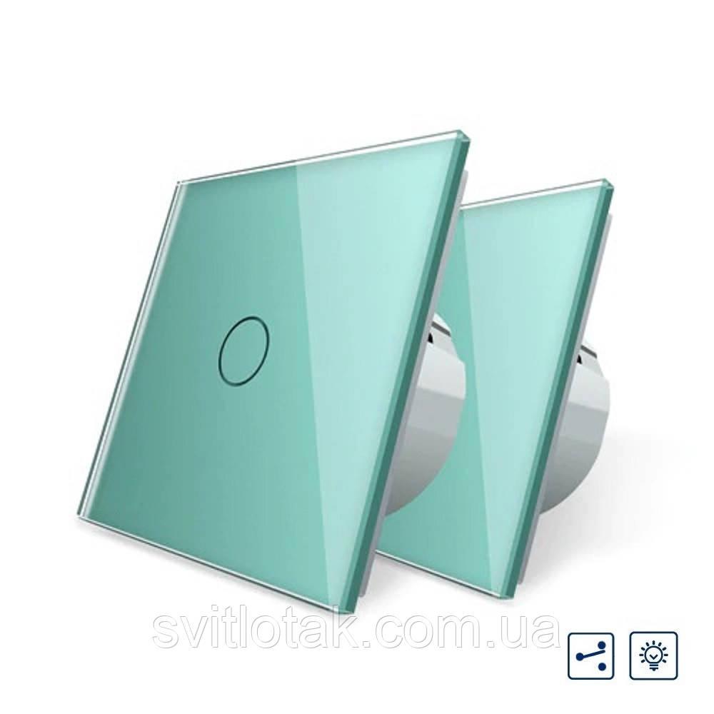 Комплект Сенсорный проходной диммер Livolo зеленый стекло (VL-C701H/C701H/S1B-18)