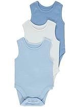 Боди-майки голубые и белые для малышей 12-18-24 мес. George (Англия)