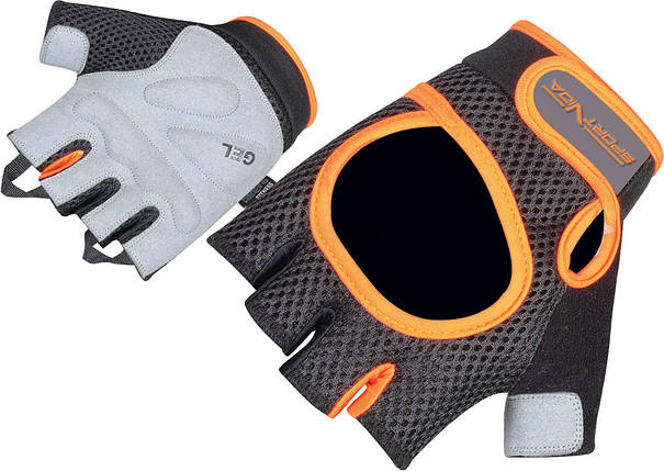 Перчатки для фитнеса SportVida SV-AG00022 (S) Black/Orange, фото 2