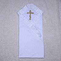 Крестильная крыжма с вышивкой белого цвета