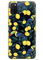 Прозрачный силиконовый чехол iSwag для Samsung Galaxy M21 с рисунком - Туканы и лимоны M1757, КОД: 1692342