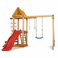 Детский игровой деревянный спортивный комплекс-площадка, горка, качель, кольца, лестница 240х320х187 см, фото 1
