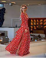 Платье макси в пол,в крупный горох,длинный рукав,вырез на груди,синее,красное,С,М