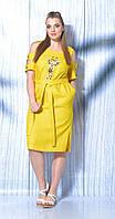 Платье Mali-419-028/1 белорусский трикотаж, желтый, 48