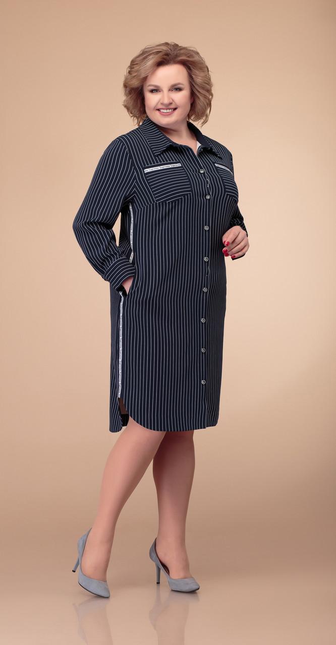 Платье Svetlana Style-1407 белорусский трикотаж, темно-синий, 52