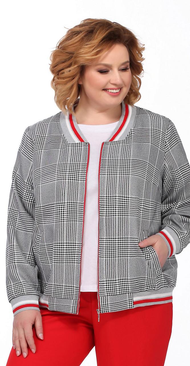 Куртка Pretty-1092 білоруський трикотаж, чорно-біла клітка, 56