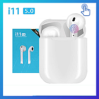Беспроводные наушники i11-TWS с микрофоном и сенсорным управлением, беспроводная гарнитура, Bluetooth наушники