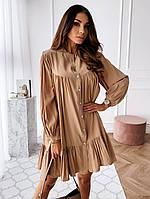 Платье-разлетайка мини,с длинным рукавом на резинке,беж,зелёный,С,М