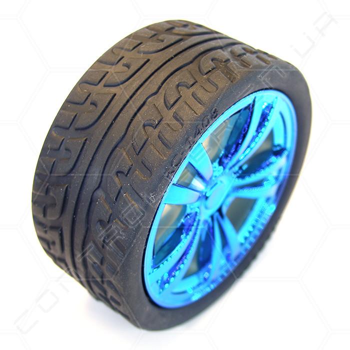 Колесо пластиковое с резиновой покрышкой, синий хром