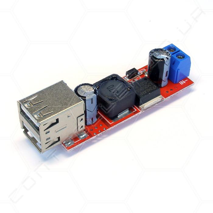 Конвертер понижающий DC-DC LM2596 с двумя USB-разъемами 5В 3А