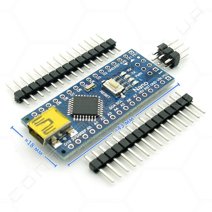 Микроконтроллер Arduino Nano 3.0 ATMega168 Mini USB ножки не распаяны