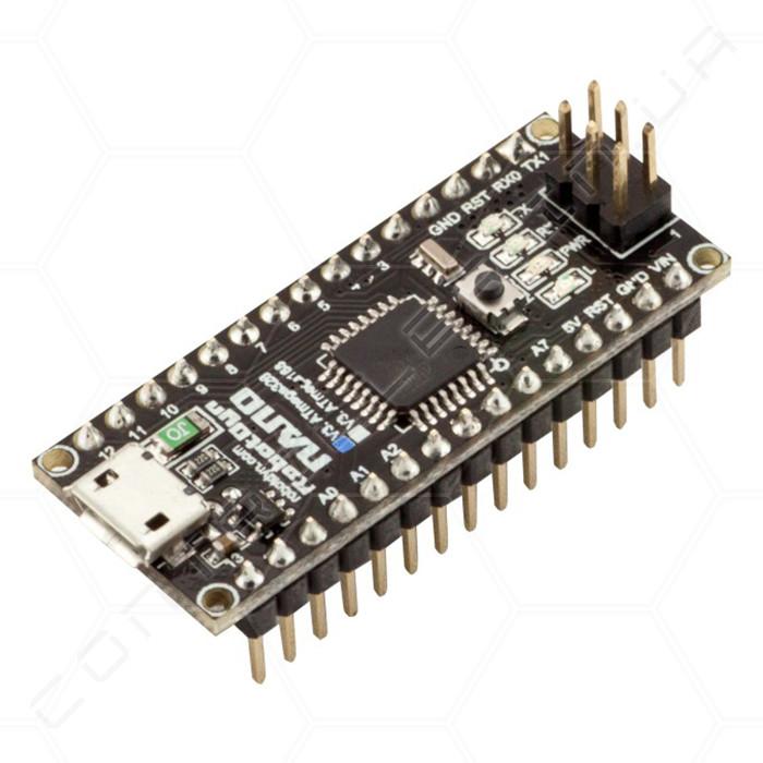 Микроконтроллер Arduino Nano 3.0 ATMega328 ножки припаяны RobotDyn