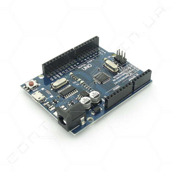 Микроконтроллер Arduino UNO R3 ATMega328 MicroUSB