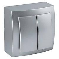 Выключатель накладной Nilson Themis серебро 2клавишный
