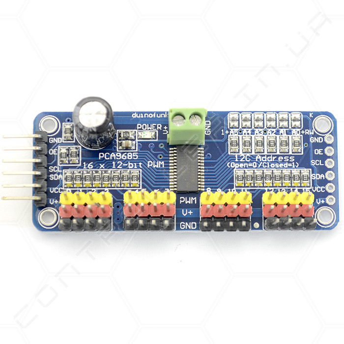 Модуль PCA9685 16-канальный с I2C интерфейсом 12-bit PWM/Servo