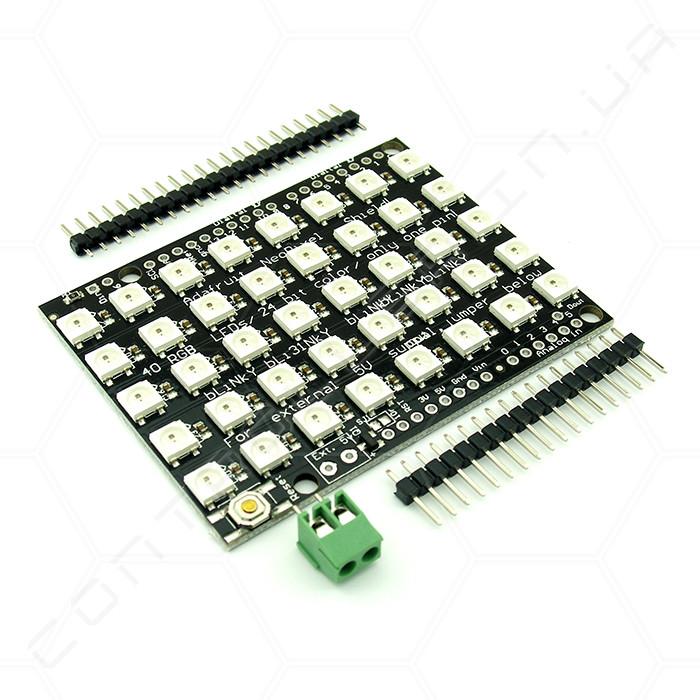 Плата розширення NeoPixel Shield WS2812 з послідовним управлінням 5x8 RGB