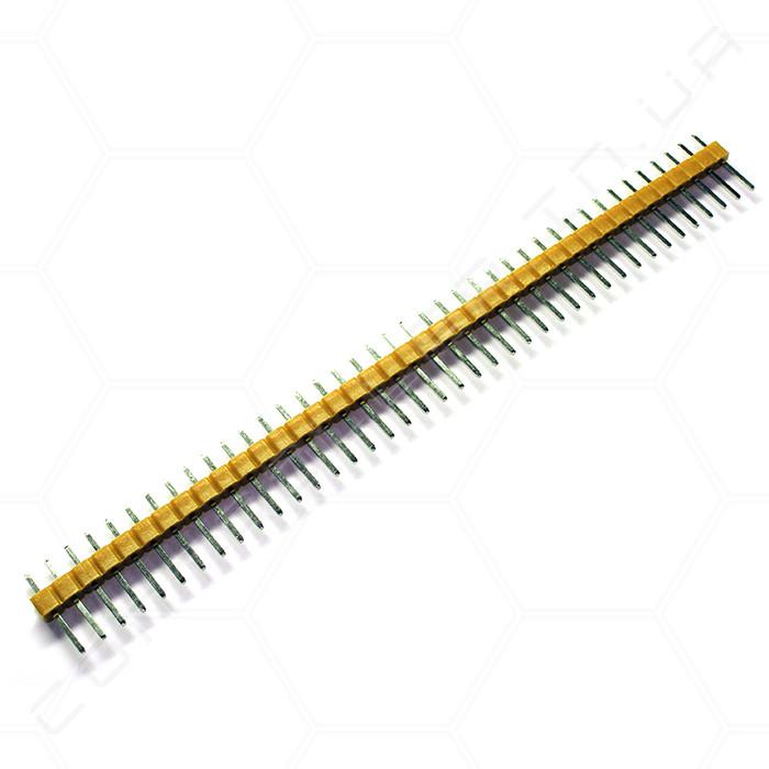 Разъем штыревой PLS-40 1х40 прямой, желтый, папа, шаг 2.54