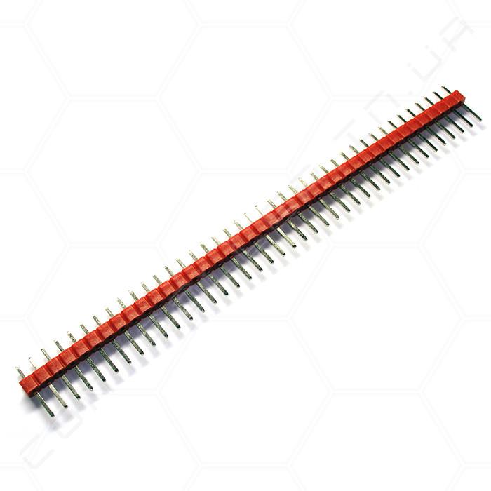 Разъем штыревой PLS-40 1х40 прямой, красный, папа, шаг 2.54
