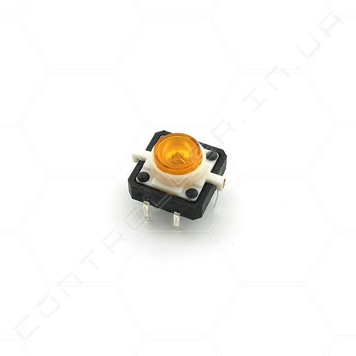 Тактовая кнопка TACT-24N-F-IB с подсветкой оранжевая 12х12