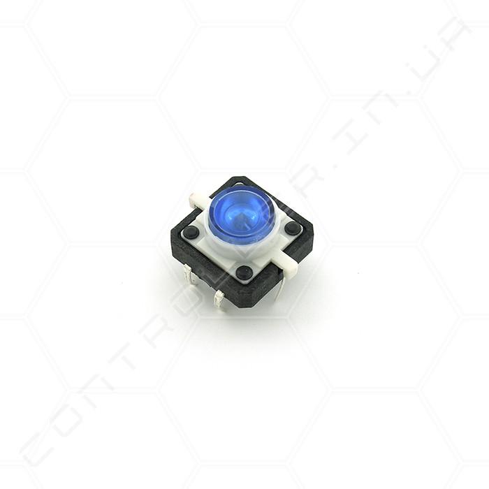 Тактовая кнопка TACT-24N-F-IB с подсветкой синяя 12х12