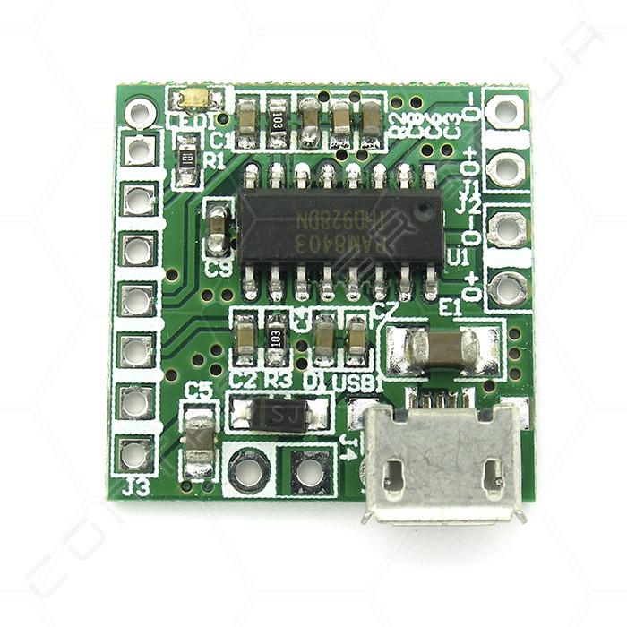 Аудио усилитель PAM8403 D-класса 2x3Вт с micro usb